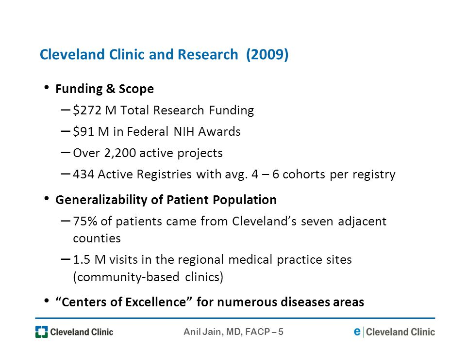 Anil Jain, MD, FACP – 5 Cleveland Clinic and Research (2009) Funding & Scope – $272 M Total Research Funding – $91 M in Federal NIH Awards – Over 2,20