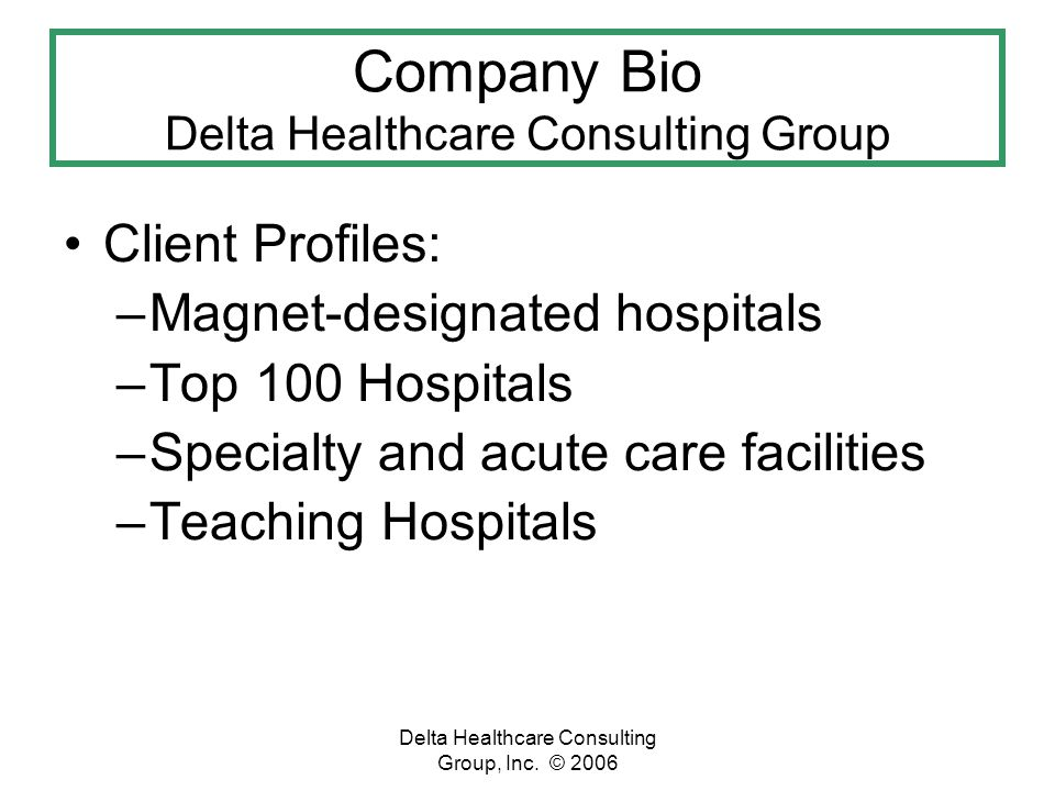 Delta Healthcare Consulting Group, Inc.