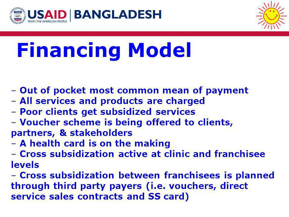 Financing Model – Out of pocket most common mean of payment – All services and products are charged – Poor clients get subsidized services – Voucher scheme is being offered to clients, partners, & stakeholders – A health card is on the making – Cross subsidization active at clinic and franchisee levels – Cross subsidization between franchisees is planned through third party payers (i.e.