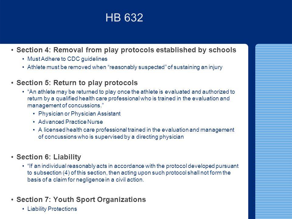 3 tenets of ideal concussion legislation Educational Outreach RFP/RTP Protocols Parent Acknowledgement of Risk HB 632 – In Comparison