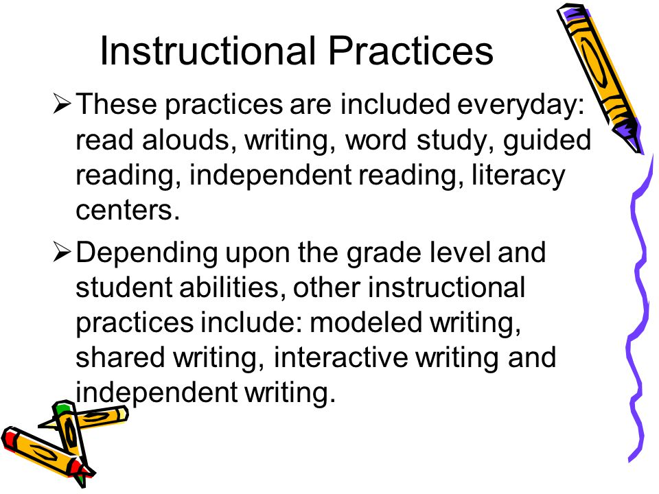 Instructional Practices These practices are included everyday: read alouds, writing, word study, guided reading, independent reading, literacy centers.