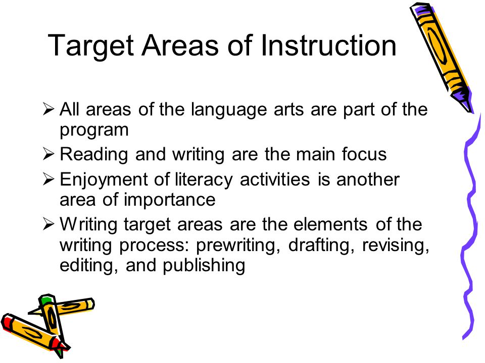 Target Areas of Instruction All areas of the language arts are part of the program Reading and writing are the main focus Enjoyment of literacy activities is another area of importance Writing target areas are the elements of the writing process: prewriting, drafting, revising, editing, and publishing