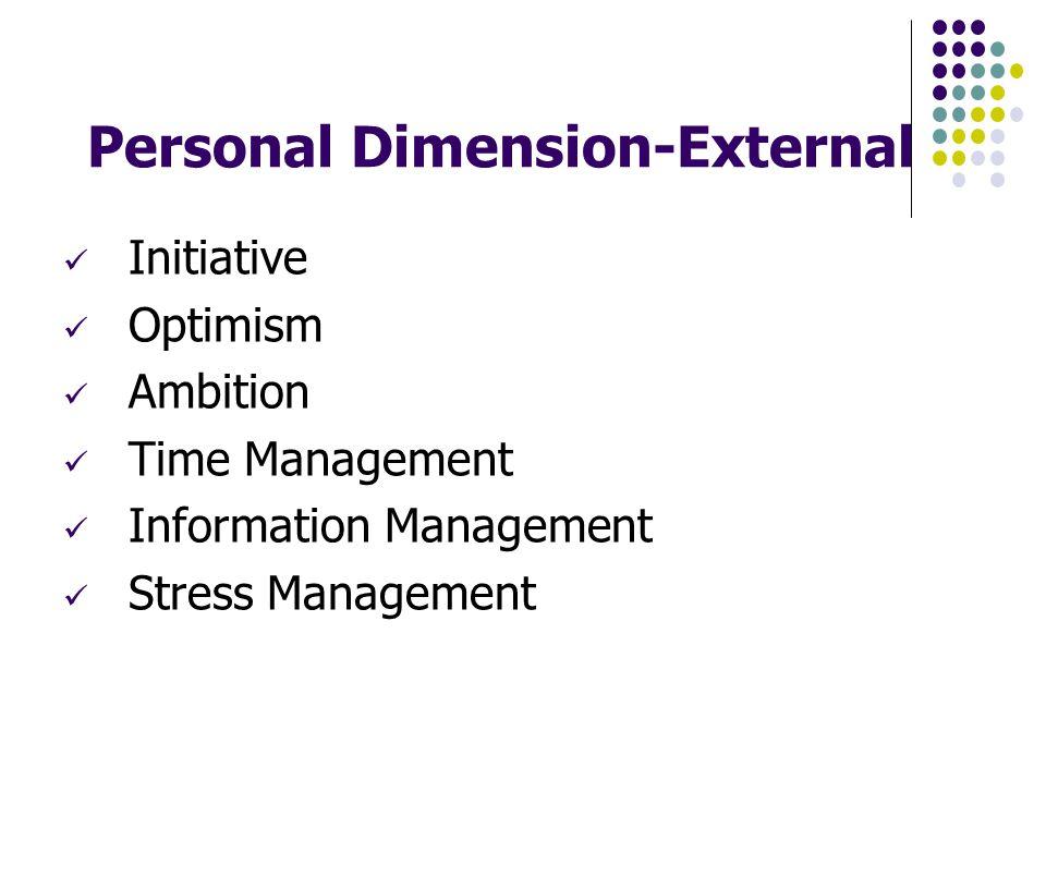 Personal Dimension-External Initiative Optimism Ambition Time Management Information Management Stress Management