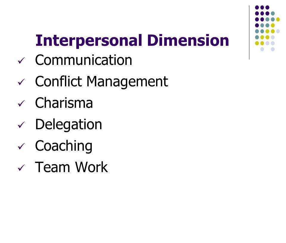 Interpersonal Dimension Communication Conflict Management Charisma Delegation Coaching Team Work