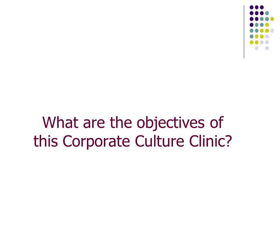 What are the objectives of this Corporate Culture Clinic
