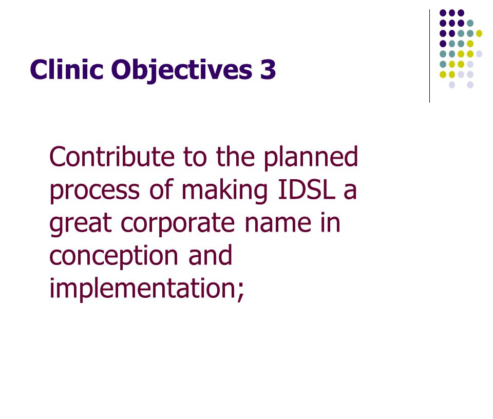 Clinic Objectives 3 Contribute to the planned process of making IDSL a great corporate name in conception and implementation;