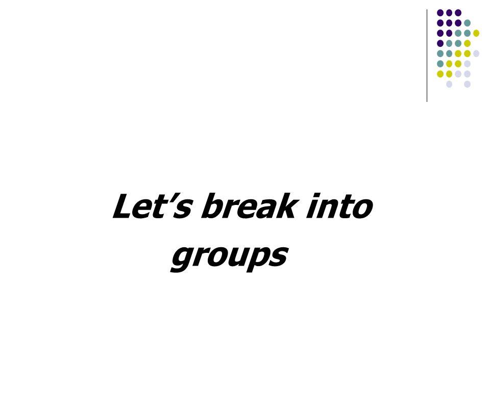 Lets break into groups