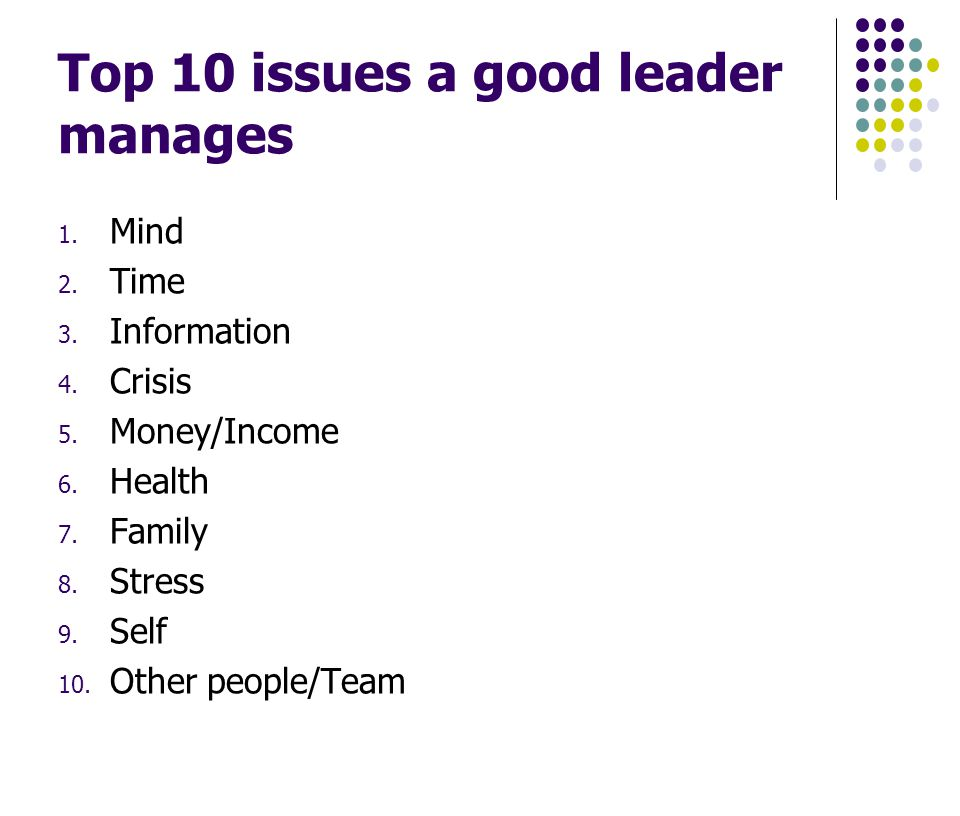 Top 10 issues a good leader manages 1. Mind 2. Time 3.