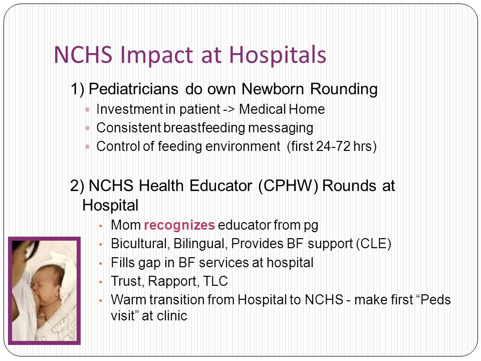 NCHS Impact at Hospitals 1) Pediatricians do own Newborn Rounding Investment in patient -> Medical Home Consistent breastfeeding messaging Control of feeding environment (first hrs) 2) NCHS Health Educator (CPHW) Rounds at Hospital Mom recognizes educator from pg Bicultural, Bilingual, Provides BF support (CLE) Fills gap in BF services at hospital Trust, Rapport, TLC Warm transition from Hospital to NCHS - make first Peds visit at clinic