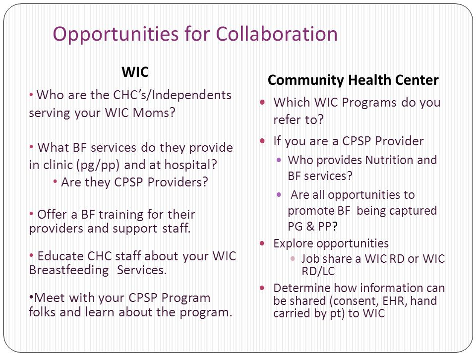 Opportunities for Collaboration WIC Community Health Center Which WIC Programs do you refer to? If you are a CPSP Provider Who provides Nutrition and