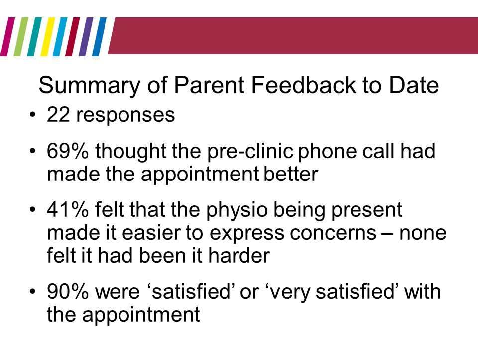 Summary of Parent Feedback to Date 22 responses 69% thought the pre-clinic phone call had made the appointment better 41% felt that the physio being present made it easier to express concerns – none felt it had been it harder 90% were satisfied or very satisfied with the appointment