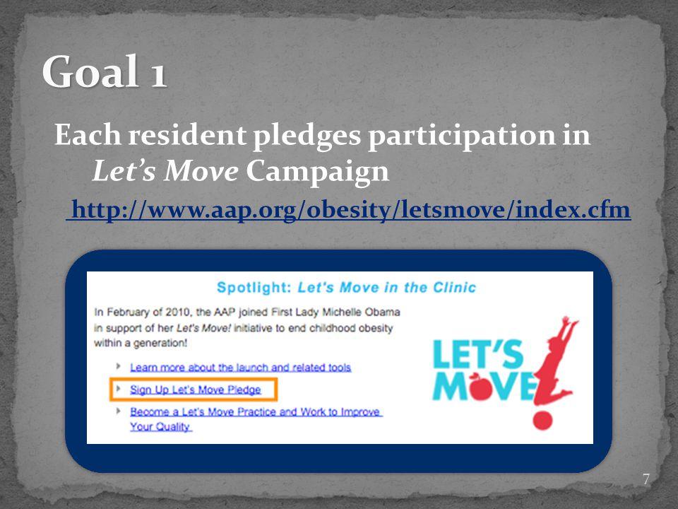 1.Pledge participation in Lets Move Campaign 2.