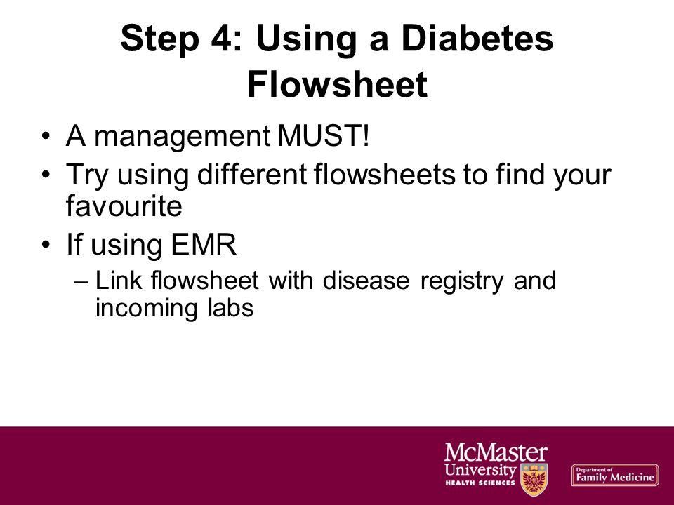 Step 4: Using a Diabetes Flowsheet A management MUST.