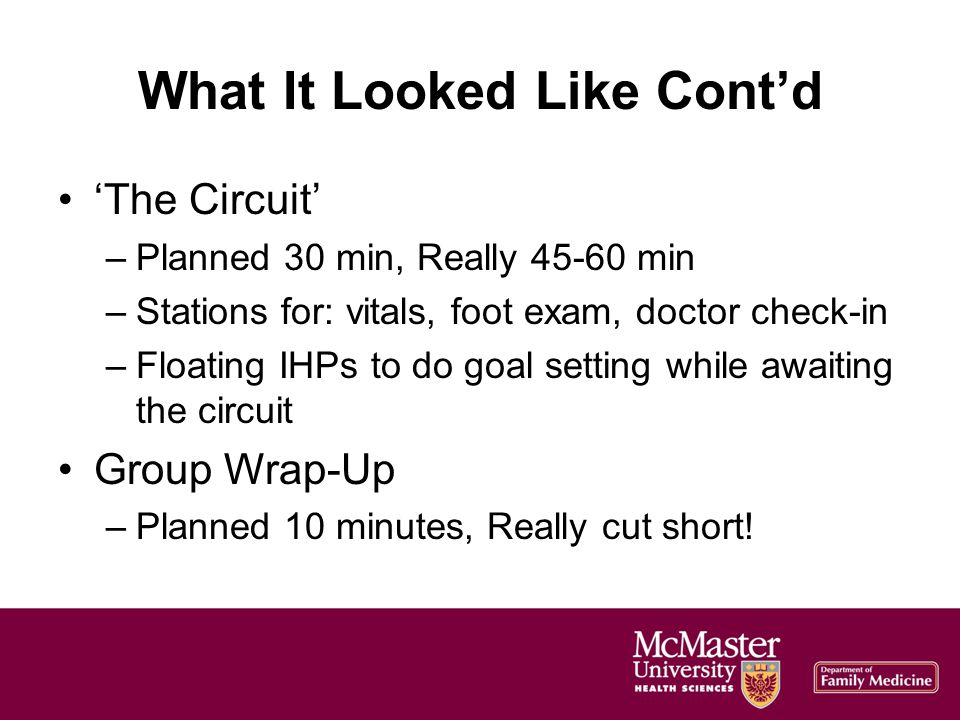 What It Looked Like Contd The Circuit –Planned 30 min, Really 45-60 min –Stations for: vitals, foot exam, doctor check-in –Floating IHPs to do goal setting while awaiting the circuit Group Wrap-Up –Planned 10 minutes, Really cut short!