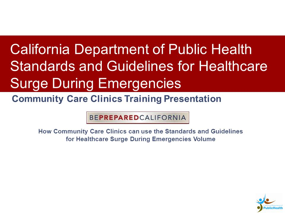 C California Department of Public Health / 11 Overview of the Community Care Clinic Volume -Training Curriculum Community Care Clinic Volume includes a Training Curriculum.