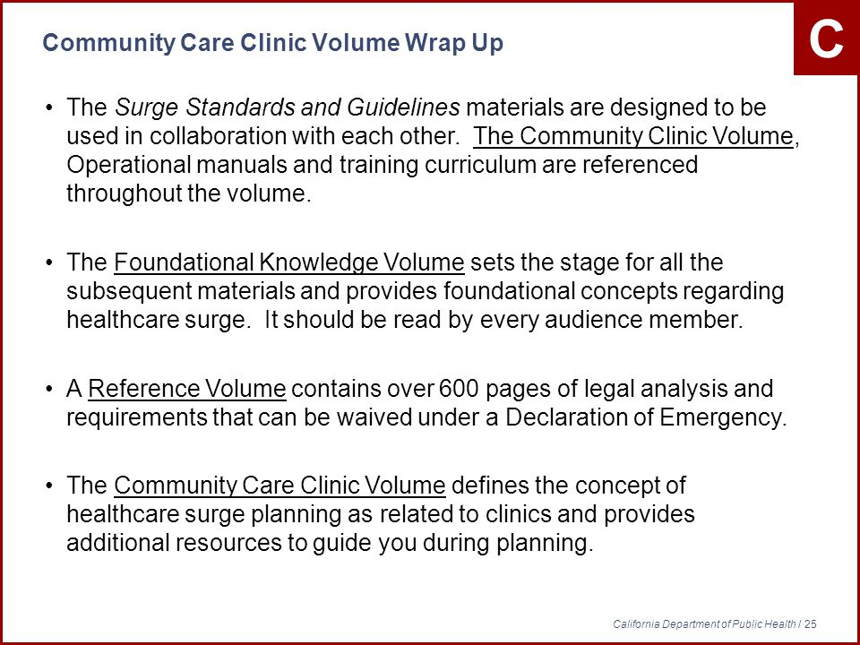 C California Department of Public Health / 25 Community Care Clinic Volume Wrap Up The Surge Standards and Guidelines materials are designed to be used in collaboration with each other.