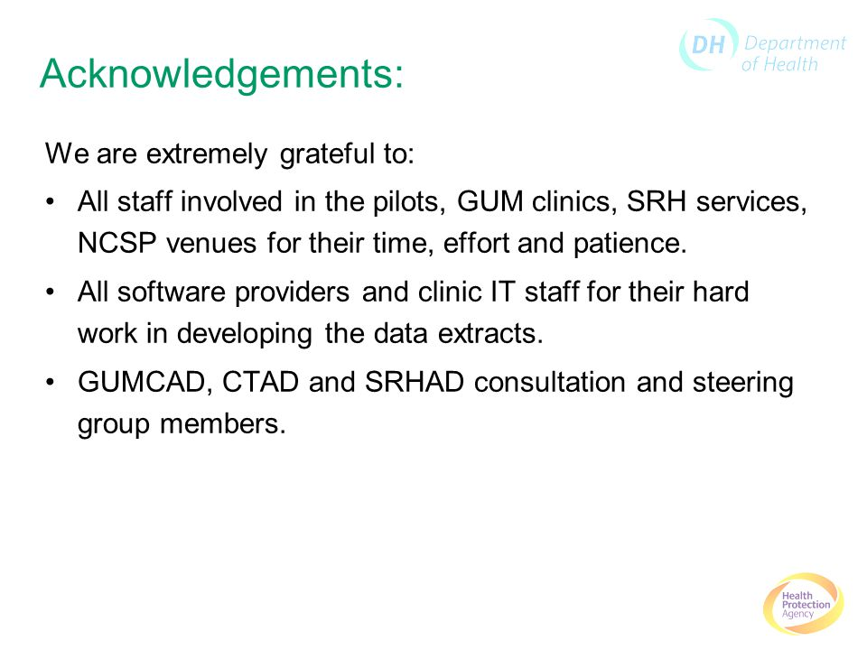 Acknowledgements: We are extremely grateful to: All staff involved in the pilots, GUM clinics, SRH services, NCSP venues for their time, effort and patience.