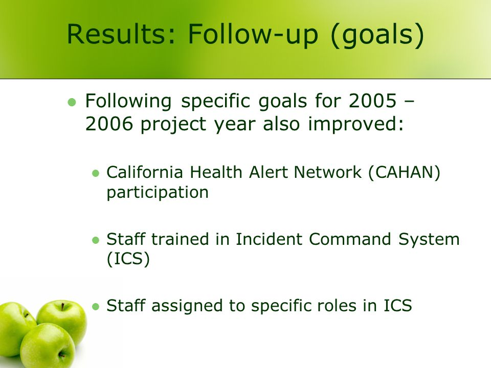 Results: Follow-up (goals) Following specific goals for 2005 – 2006 project year also improved: California Health Alert Network (CAHAN) participation Staff trained in Incident Command System (ICS) Staff assigned to specific roles in ICS