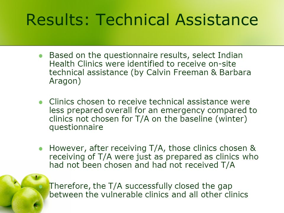 Results: Technical Assistance Based on the questionnaire results, select Indian Health Clinics were identified to receive on-site technical assistance (by Calvin Freeman & Barbara Aragon) Clinics chosen to receive technical assistance were less prepared overall for an emergency compared to clinics not chosen for T/A on the baseline (winter) questionnaire However, after receiving T/A, those clinics chosen & receiving of T/A were just as prepared as clinics who had not been chosen and had not received T/A Therefore, the T/A successfully closed the gap between the vulnerable clinics and all other clinics