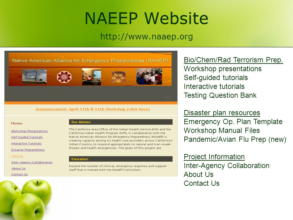 NAEEP Website http://www.naaep.org Bio/Chem/Rad Terrorism Prep.
