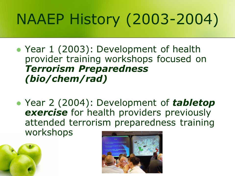 NAAEP History (2003-2004) Year 1 (2003): Development of health provider training workshops focused on Terrorism Preparedness (bio/chem/rad) Year 2 (2004): Development of tabletop exercise for health providers previously attended terrorism preparedness training workshops