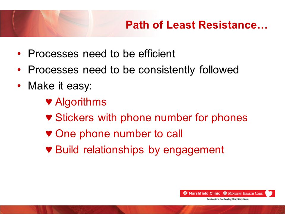 Path of Least Resistance… Processes need to be efficient Processes need to be consistently followed Make it easy: Algorithms Stickers with phone numbe