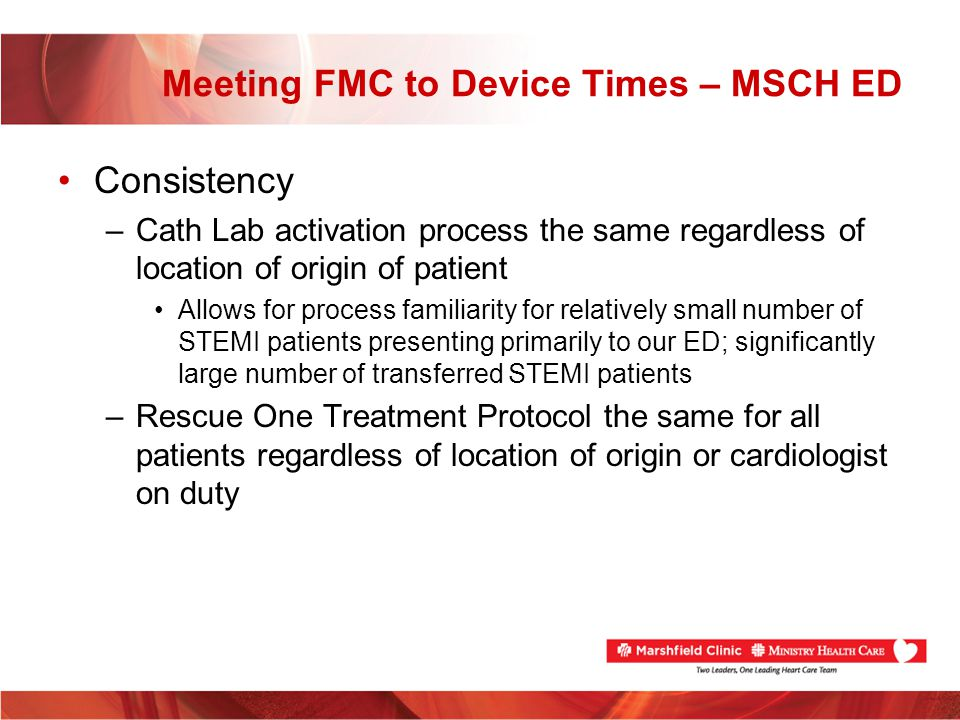 Meeting FMC to Device Times – MSCH ED Consistency –Cath Lab activation process the same regardless of location of origin of patient Allows for process