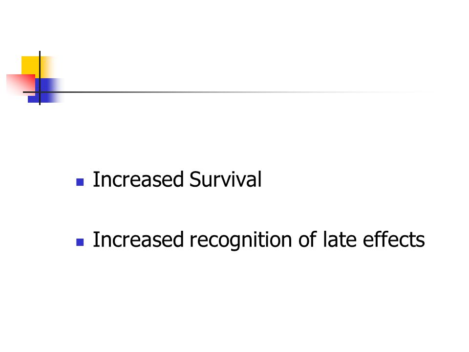 Increased Survival Increased recognition of late effects