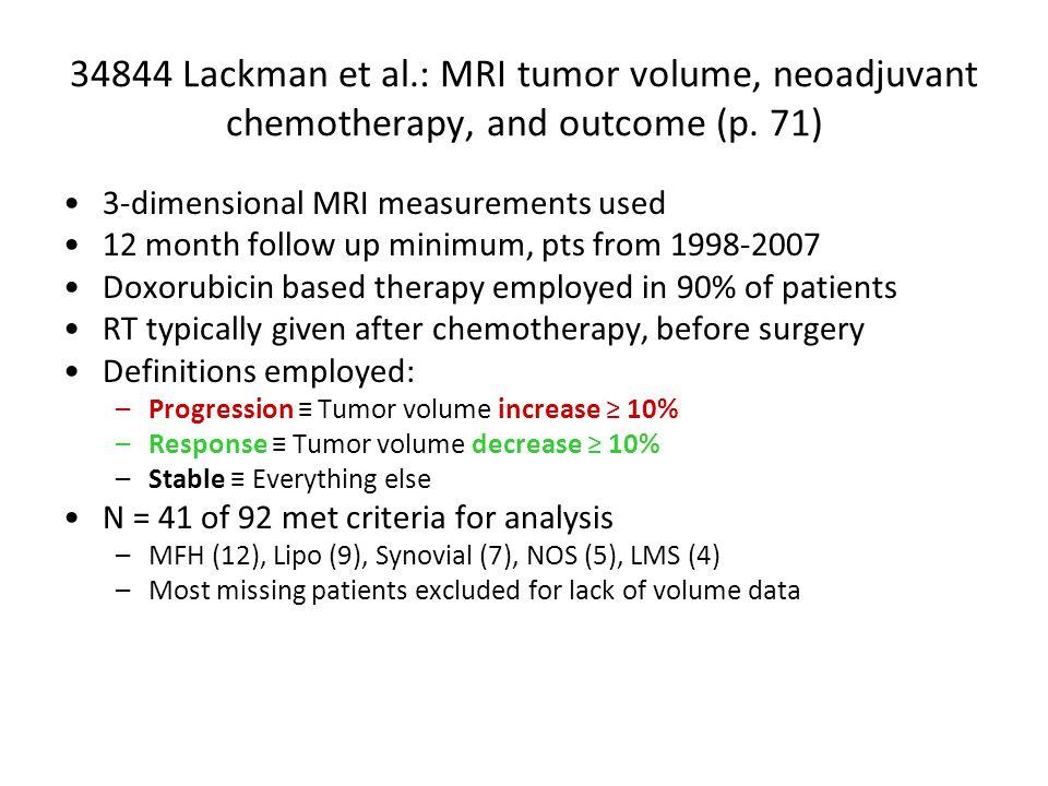 34844 Lackman et al.: MRI tumor volume, neoadjuvant chemotherapy, and outcome (p.