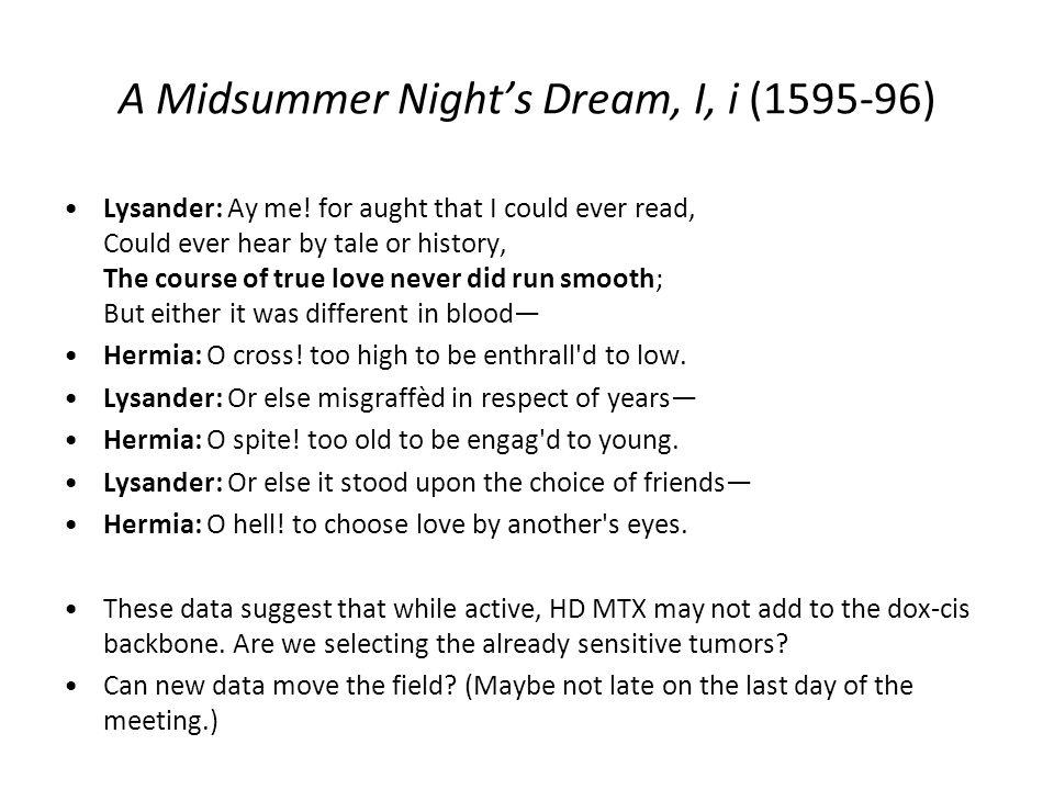 A Midsummer Nights Dream, I, i (1595-96) Lysander: Ay me.