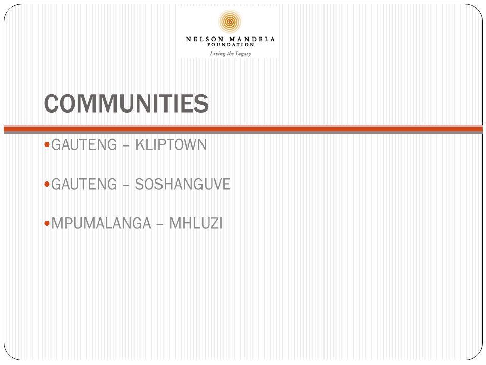 COMMUNITIES GAUTENG – KLIPTOWN GAUTENG – SOSHANGUVE MPUMALANGA – MHLUZI