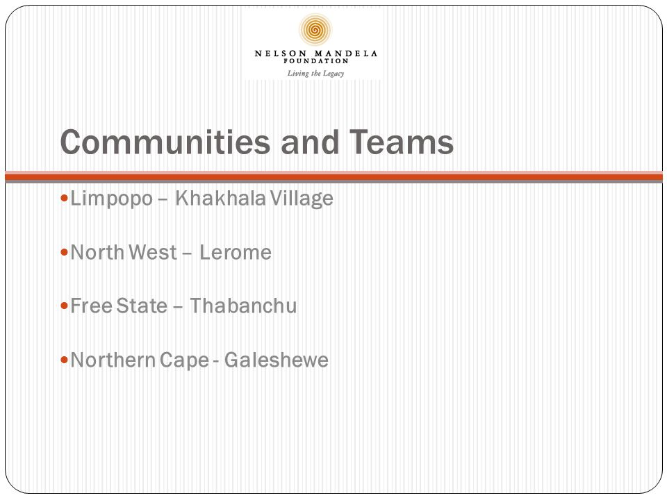 2010 Highlights - Khakhala Tribal Authority Khakhala Local Clinic 13 – 19 August 117 Tested 20 – 26 August 124 Tested Recreation Facilities Community Moral Facilitators – Mandela Day 2010.