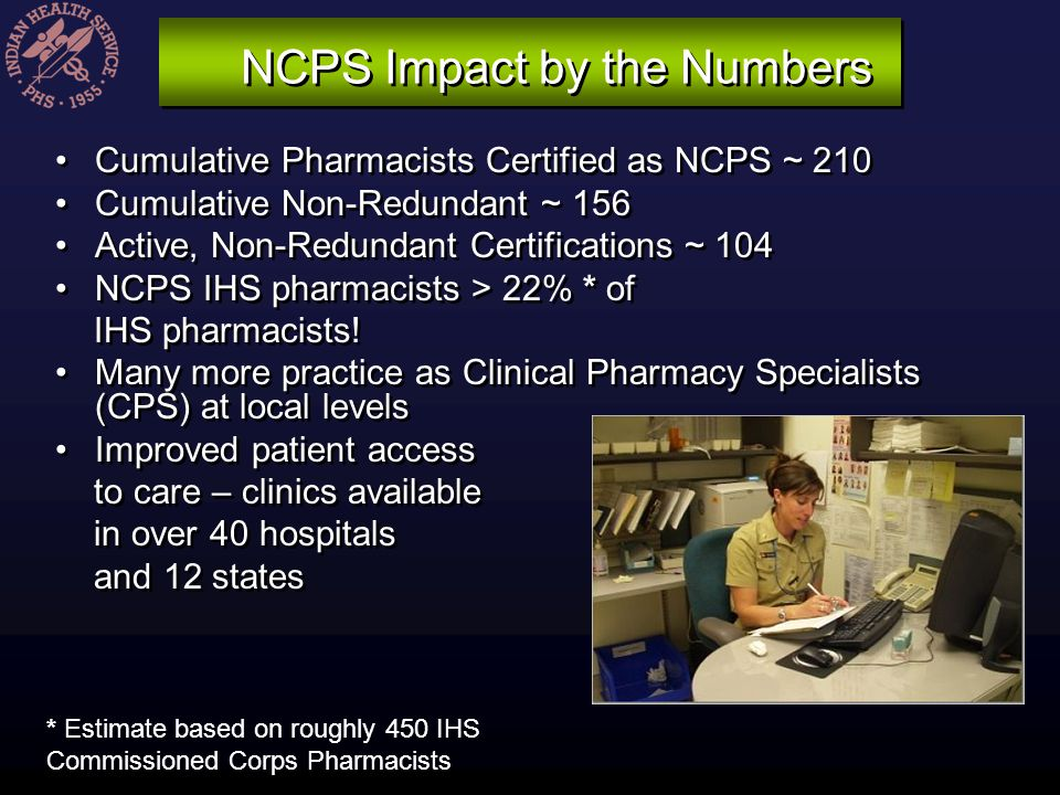 NCPS Impact by the Numbers Cumulative Pharmacists Certified as NCPS ~ 210 Cumulative Non-Redundant ~ 156 Active, Non-Redundant Certifications ~ 104 NC