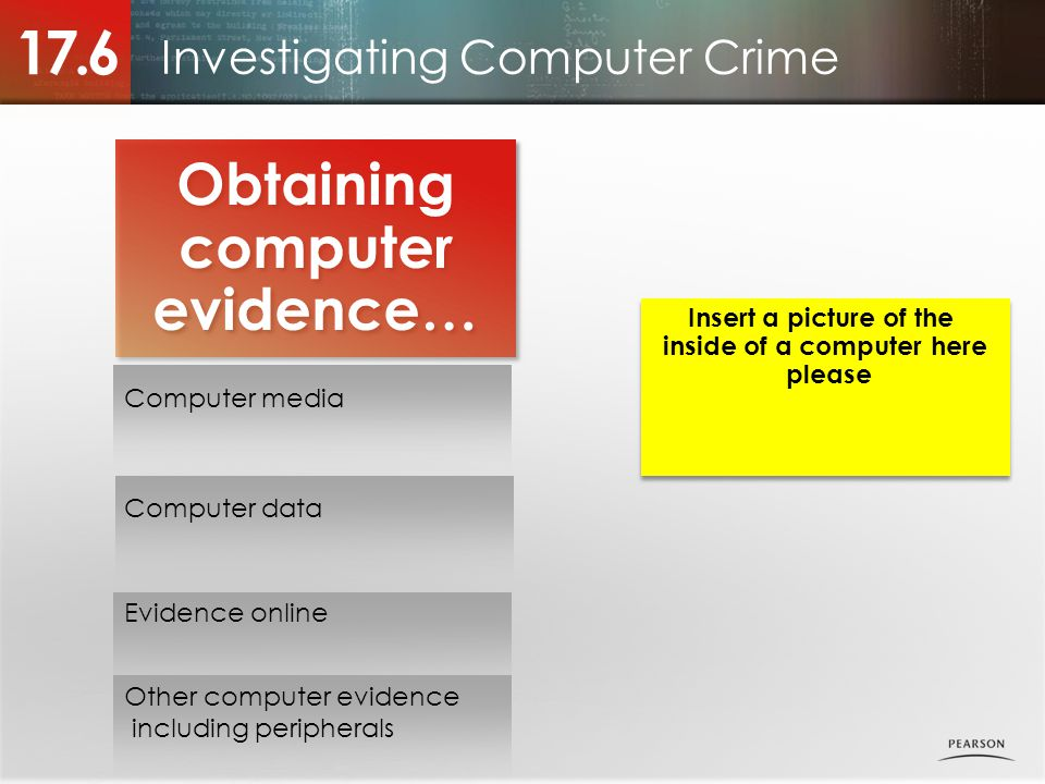 Investigating Computer Crime 17.6 Obtaining computer evidence… Computer media Computer data Evidence online Other computer evidence including peripherals Insert a picture of the inside of a computer here please Insert a picture of the inside of a computer here please