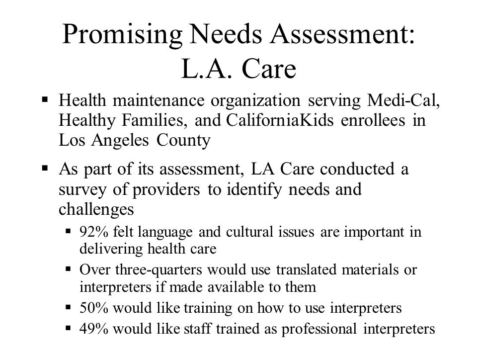Promising Needs Assessment: La Clínica de la Raza Community clinic serving primarily Latino patients in East Oakland La Clínica de la Raza conducted a Cultural Competence Assessment Survey Assessed staff views regarding cultural competency Was included as a component of the organizations quality assurance oversight plan Yielded results that illustrate a strong recognition among staff of the importance of culture Identified needs Materials and signs in different languages & cultures Training and information about non-Latino cultures