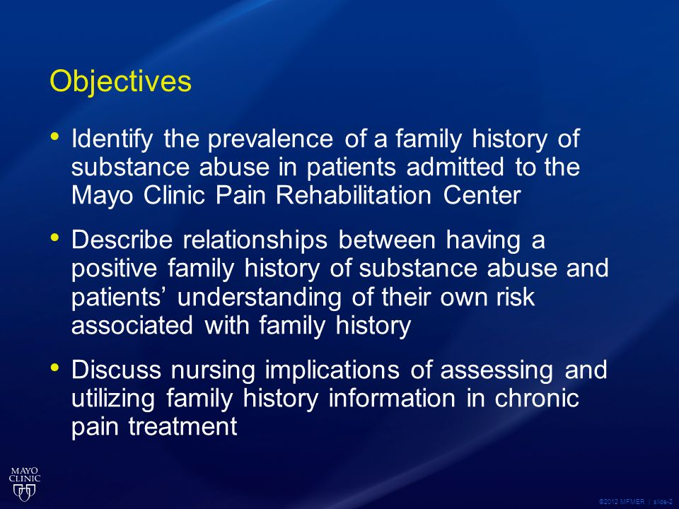 Pre-Survey Question on Inherited Risk A family history of substance abuse increases the risk of this condition in other family members (rate 1 strongly disagree – 5 strongly agree) Mean all rating Mean adult rating Mean pediatric rating ©2012 MFMER | slide-13