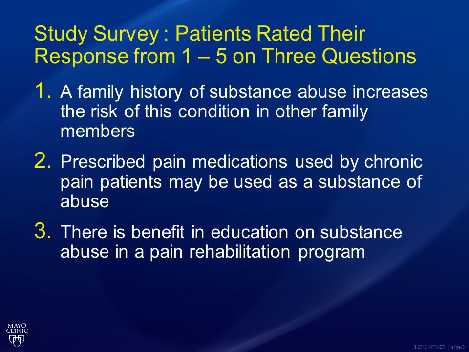Study Survey : Patients Rated Their Response from 1 – 5 on Three Questions 1.