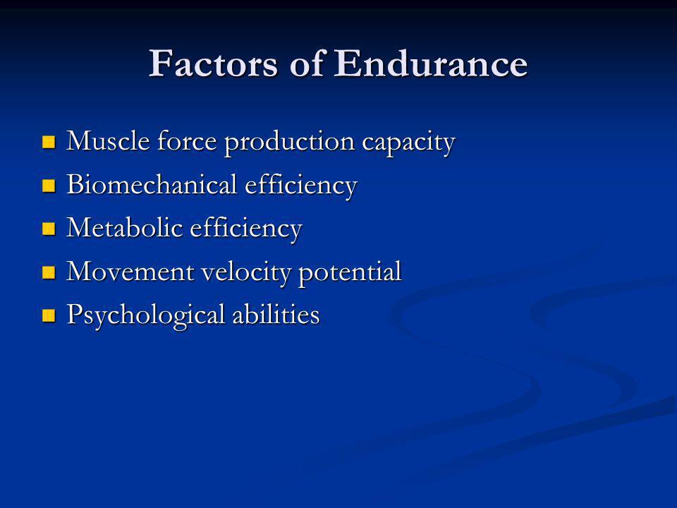 Factors of Endurance Muscle force production capacity Muscle force production capacity Biomechanical efficiency Biomechanical efficiency Metabolic eff