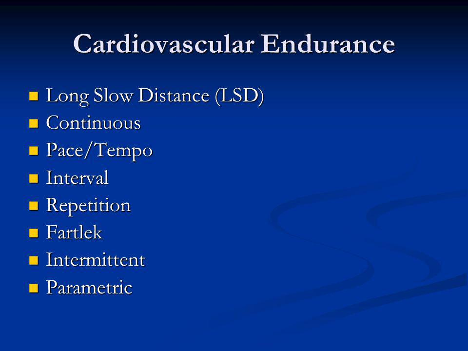 Cardiovascular Endurance Long Slow Distance (LSD) Long Slow Distance (LSD) Continuous Continuous Pace/Tempo Pace/Tempo Interval Interval Repetition Re