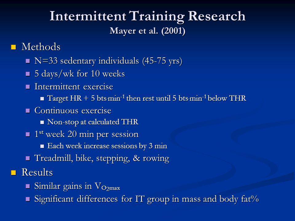 Intermittent Training Research Mayer et al. (2001) Methods Methods N=33 sedentary individuals (45-75 yrs) N=33 sedentary individuals (45-75 yrs) 5 day
