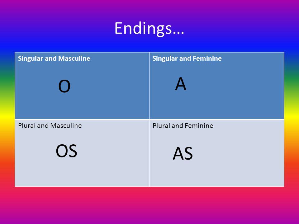 Endings… Singular and MasculineSingular and Feminine Plural and MasculinePlural and Feminine O A OS AS