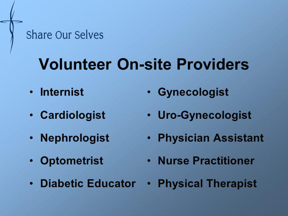 Volunteer On-site Providers Internist Cardiologist Nephrologist Optometrist Diabetic Educator Gynecologist Uro-Gynecologist Physician Assistant Nurse Practitioner Physical Therapist
