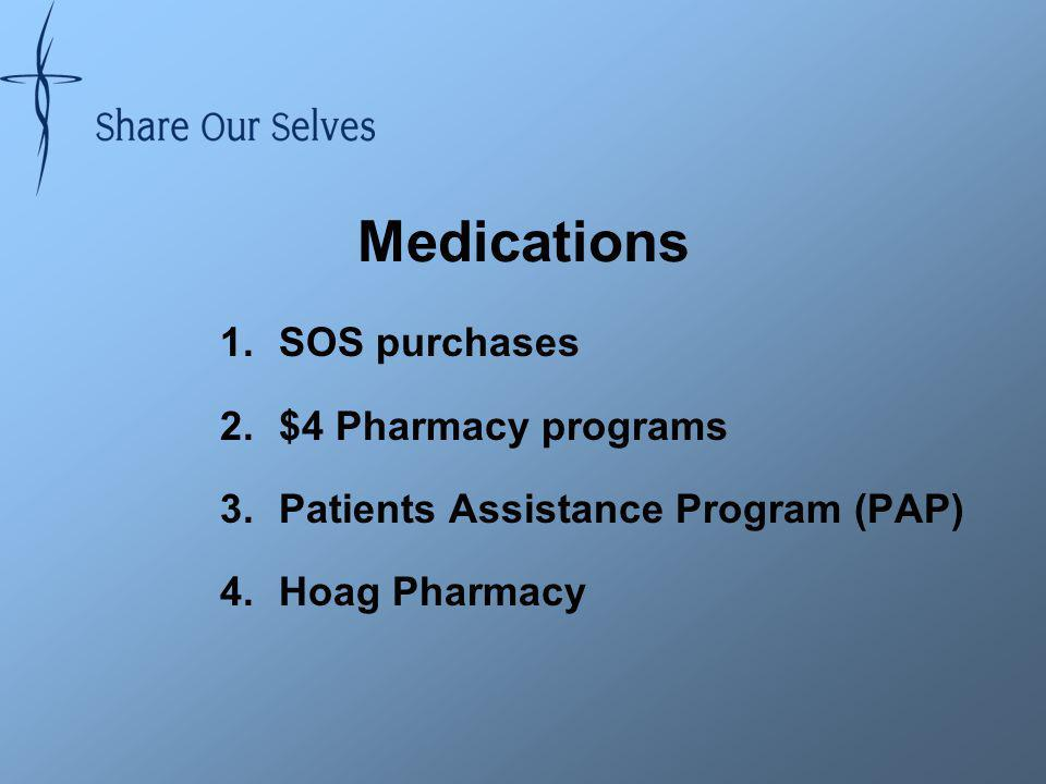 Medications 1.SOS purchases 2.$4 Pharmacy programs 3.Patients Assistance Program (PAP) 4.Hoag Pharmacy