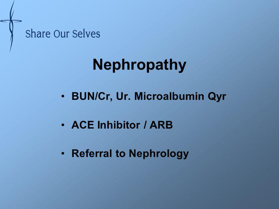 Nephropathy BUN/Cr, Ur. Microalbumin Qyr ACE Inhibitor / ARB Referral to Nephrology