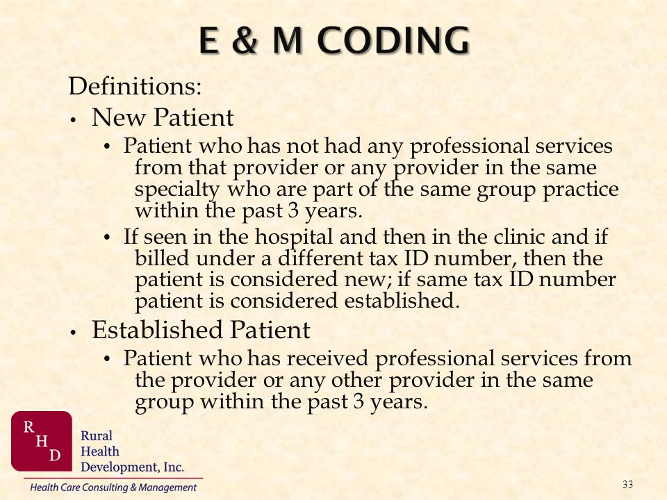 Definitions: New Patient Patient who has not had any professional services from that provider or any provider in the same specialty who are part of th