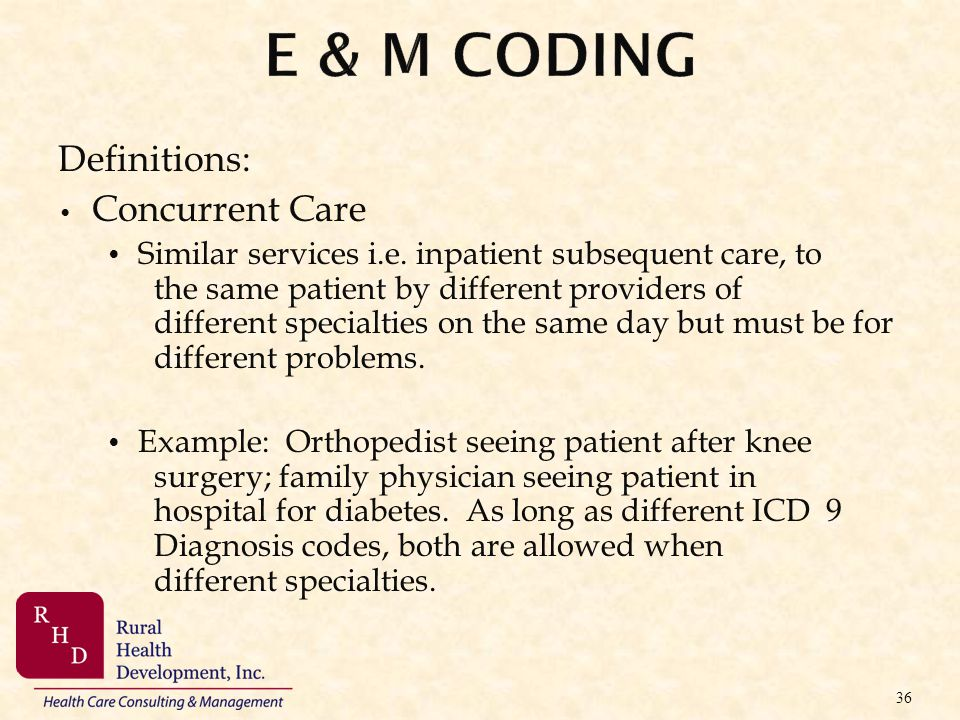 Definitions: Concurrent Care Similar services i.e. inpatient subsequent care, to the same patient by different providers of different specialties on t
