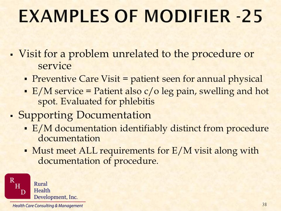 Visit for a problem unrelated to the procedure or service Preventive Care Visit = patient seen for annual physical E/M service = Patient also c/o leg