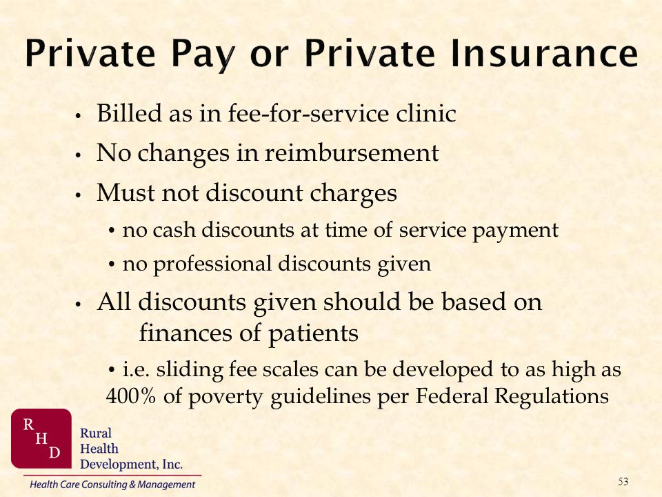Private Pay or Private Insurance Billed as in fee-for-service clinic No changes in reimbursement Must not discount charges no cash discounts at time o