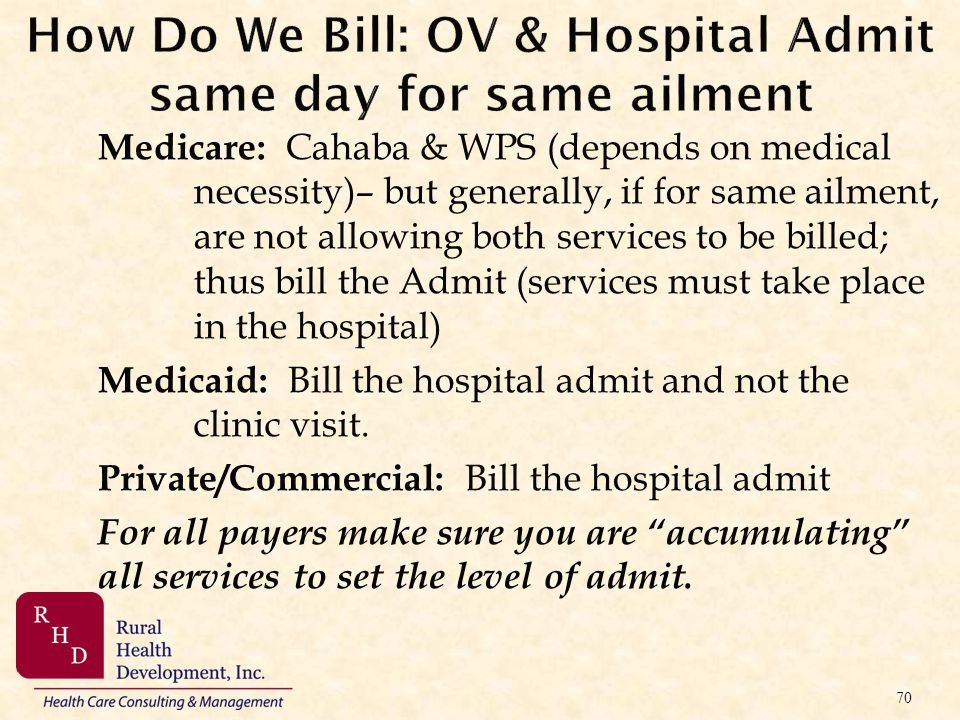 How Do We Bill: OV & Hospital Admit same day for same ailment Medicare: Cahaba & WPS (depends on medical necessity)– but generally, if for same ailmen