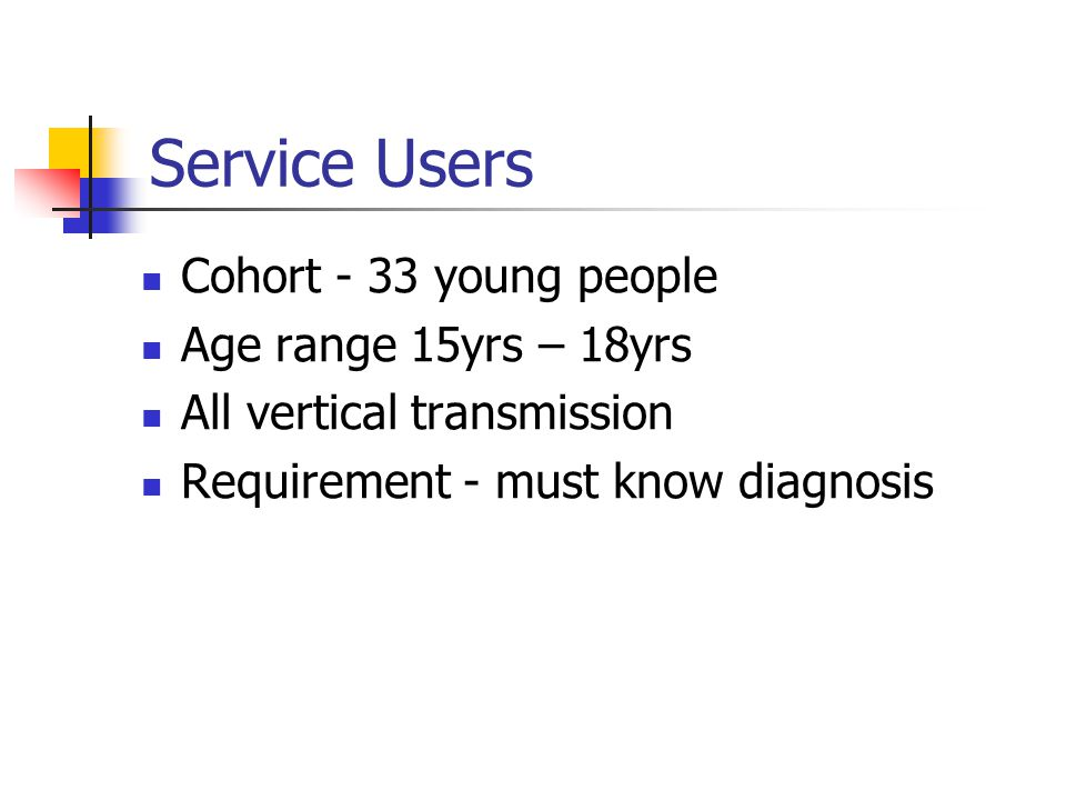 Service Users Cohort - 33 young people Age range 15yrs – 18yrs All vertical transmission Requirement - must know diagnosis